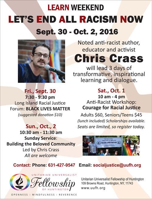Anti-Racism Weekend with UU Anti-Racism Activist Chris Crass @ UUFH | Huntington | New York | United States