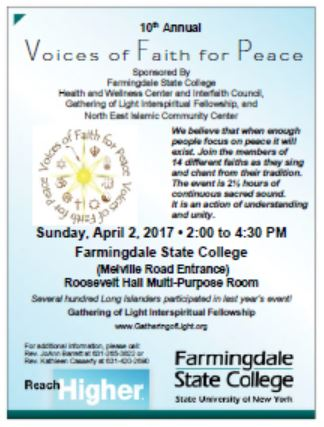 Voices of Faith for Peace  (Support our choir!) @ Farmingdale State University in the Roosevelt Hall Multipurpose Room | Farmingdale | New York | United States